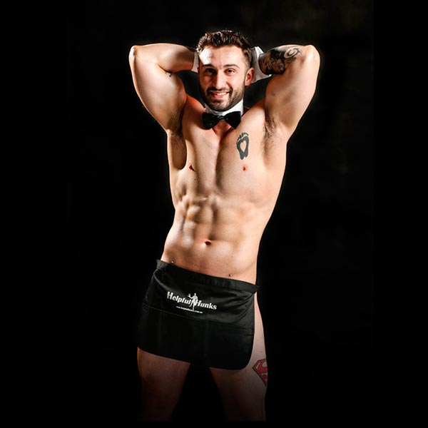 topless waiters flexing muscles wearing bottom revealing apron