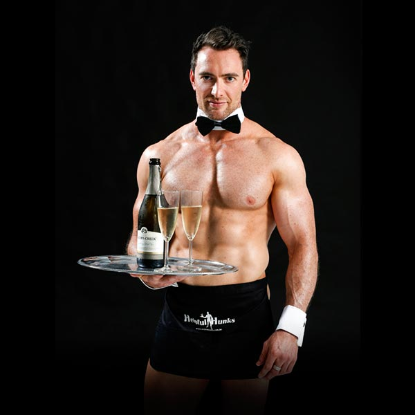 strong handsome topless waiters for your hens party