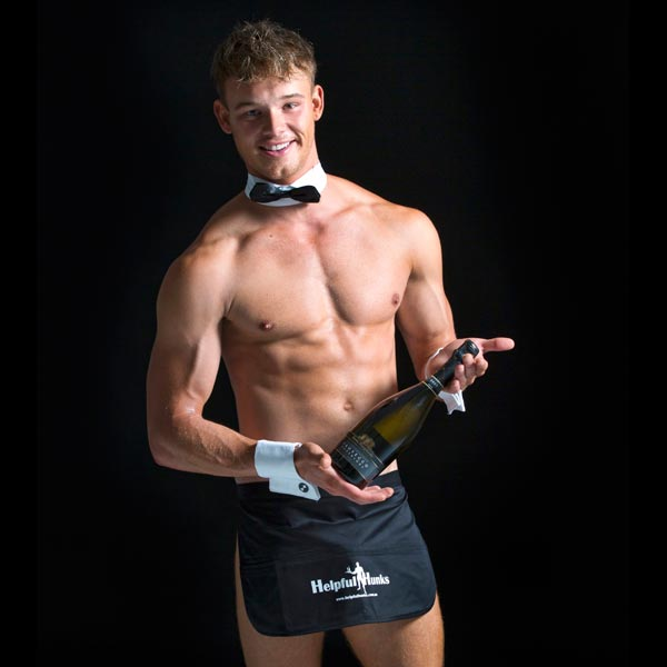 topless waiter holding a bottle of champagne, topless waiters